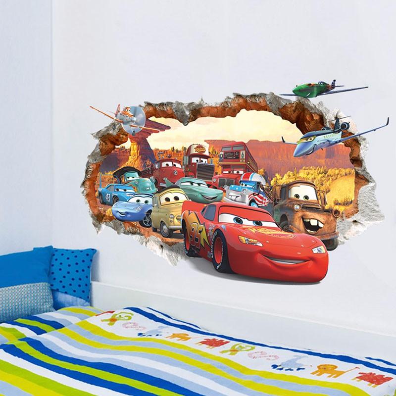 Cartoon 3d Through The Brick Pixar Car Wall Sticker For Kids Rooms Children Wall Art Decal Mural Wallpaper Home Decor Boy's Gift