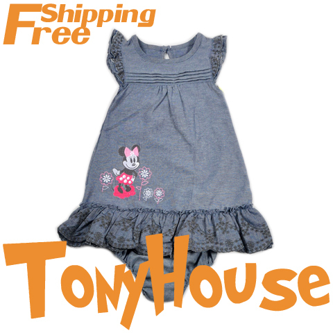 Baby girl's 2013 summer new dress suit, cartoon Minnie Mouse 2pc sets cotton dress+briefs clothing sets free shipping