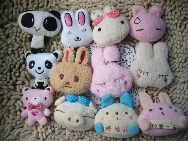 A wide variety of animals Plush toy dolls doll mobile phone small pendant rabbit animal head wedding gifts(China (Mainland))