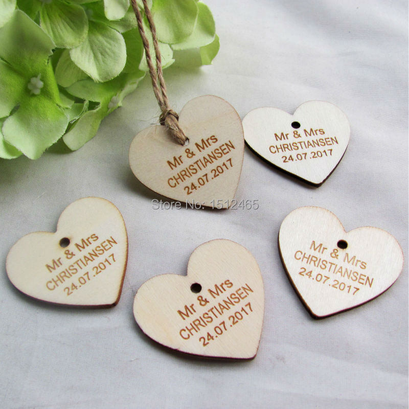 100pieces Personalized wedding name and date wooden Love Heart Wedding Card Wish Tree Gift Tags +Jute String 40mm*37mm(China (Mainland))