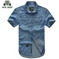 AFS JEEP Plus Size M 5XL Shirt 2016 New Arrival Denim Shirt Man Turn down Collar