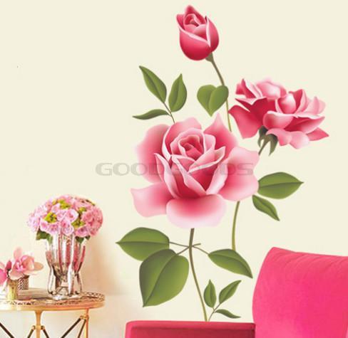New 2015 Diy Wall Sticker Mural Home Art Decor Pink Rose Bedroom Living Room Decals Wallpaper