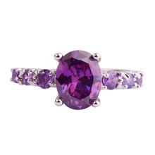 lingmei Fashion Wholesale Women Oval Cut Amethyst Silver Ring Size 6 7 8 9 10 11 12 13 Purple Party Jewelry Free Shipping(China (Mainland))