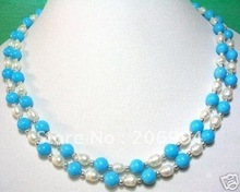 wholesales design turquoise White Freshwater Pearl necklace lowest fashion jewelry,gift free shipping(China (Mainland))