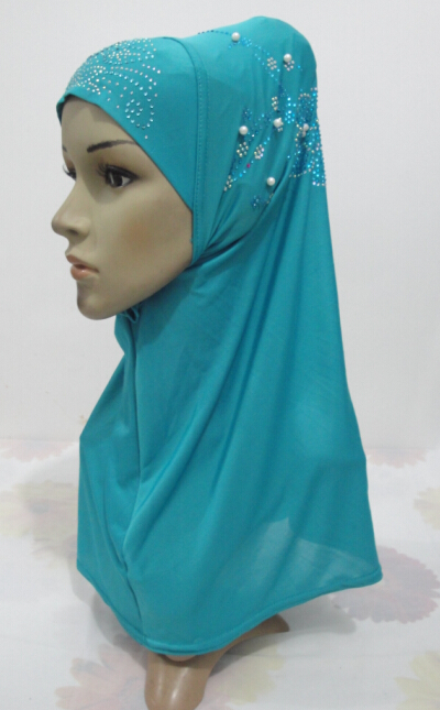 H971 latest muslim one piece pull on hijab with pearls and stones,free shipping(China (Mainland))