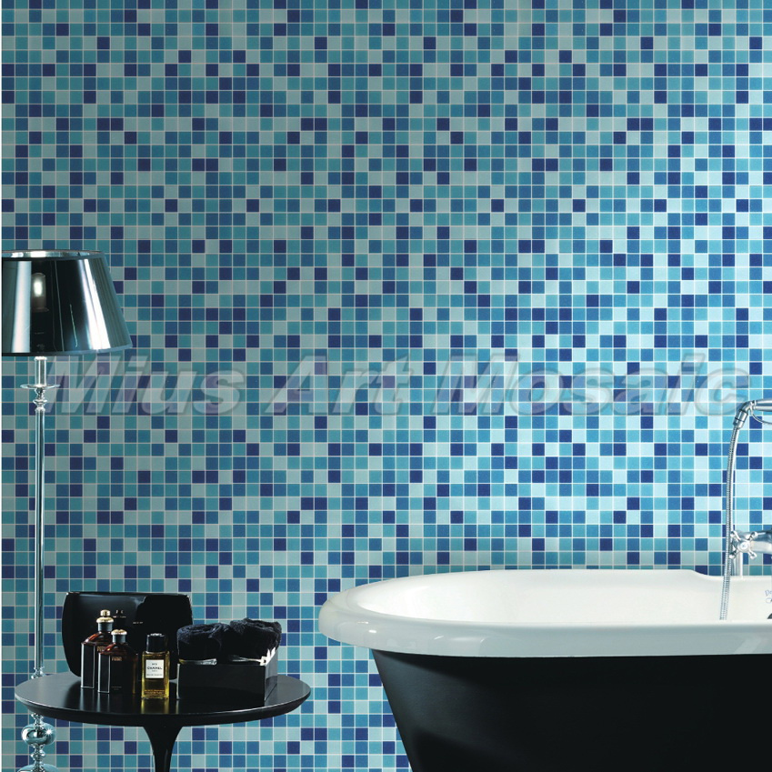 Blue Recycled glass mosaic kitchen glass tile swimming pool tile factory MR009(China (Mainland))