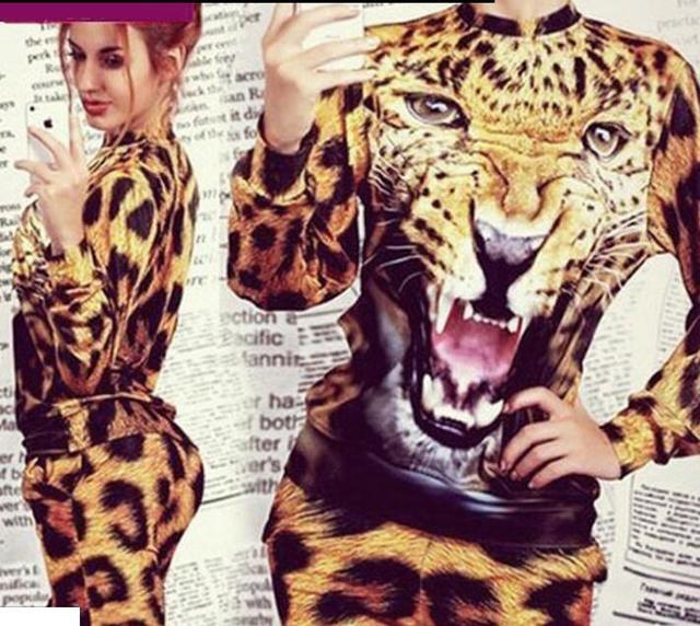 Хорошее качество печати леопарда Женщин 2 Шт./компл. Одежда Хлопок Костюм Твердые Костюм мода Женщина Толстовки Установить Костюмы ML-05102S