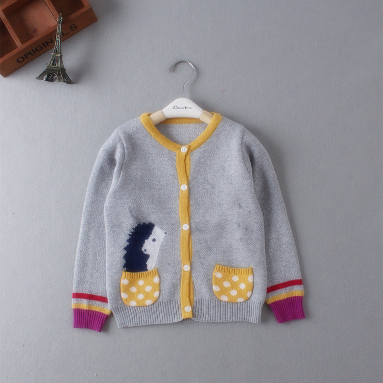 Kids cartoon fashion Sweater Spring Autumn Children leisure cardigans Baby Boys and girls sweater for 1-4 years free shipping(China (Mainland))