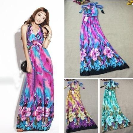2015 Summer vestidos Bohemian Maxi Beach Dress New Fashion Deep V-Neck Sleeveless Floral Print Long Casual Dresses Women - Sanxier's Leatherware Official Store store