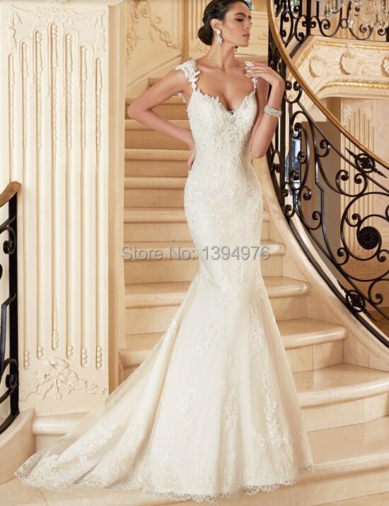 Free Shipping Hot Selling Elegant White Backless Applique Mermaid Wedding Dre
