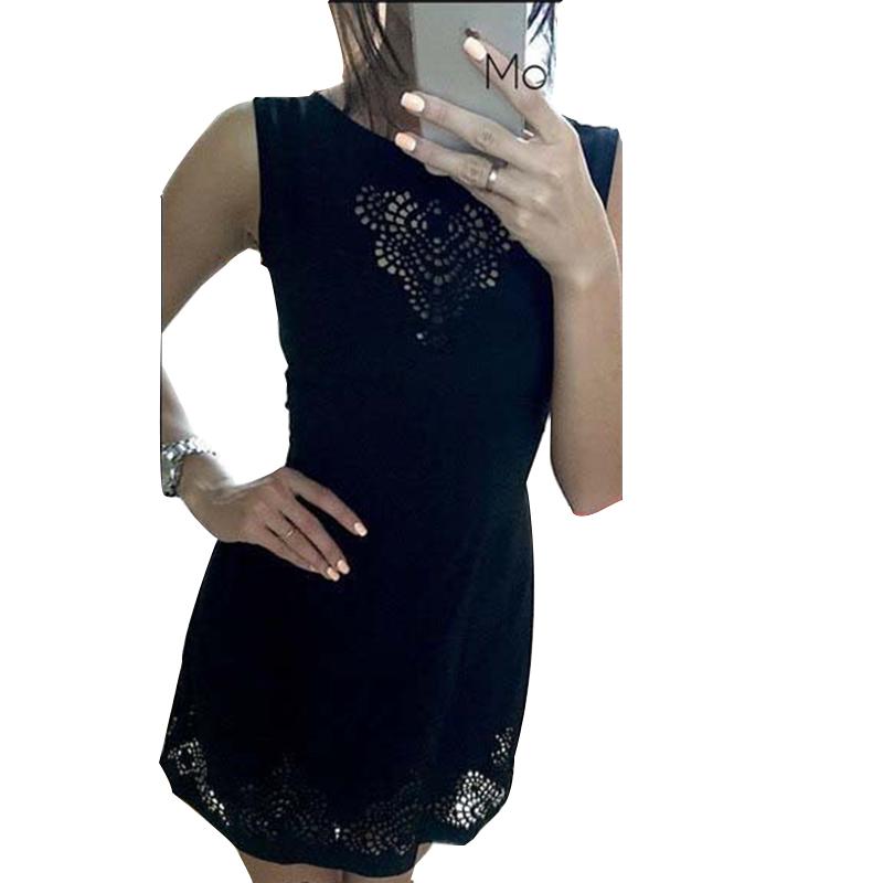 Black Red Mini Dress Fashion New 2015 Plus Size  Women Clothing  O-neck Sleeveless Sexy  Dress Vestidos HZLP0136