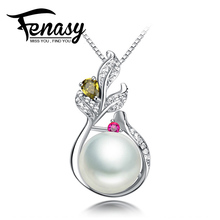 FENASY 100% natural Pearl Pendant,Drop Shape Natural Freshwater Pearl Silver Necklace Pendant Free Shipping NEW,