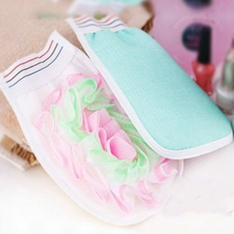 F018 3pcs/lot sanitary bathing gloves care bath gloves bubble bath rubbing towel cloth small flowers(China (Mainland))