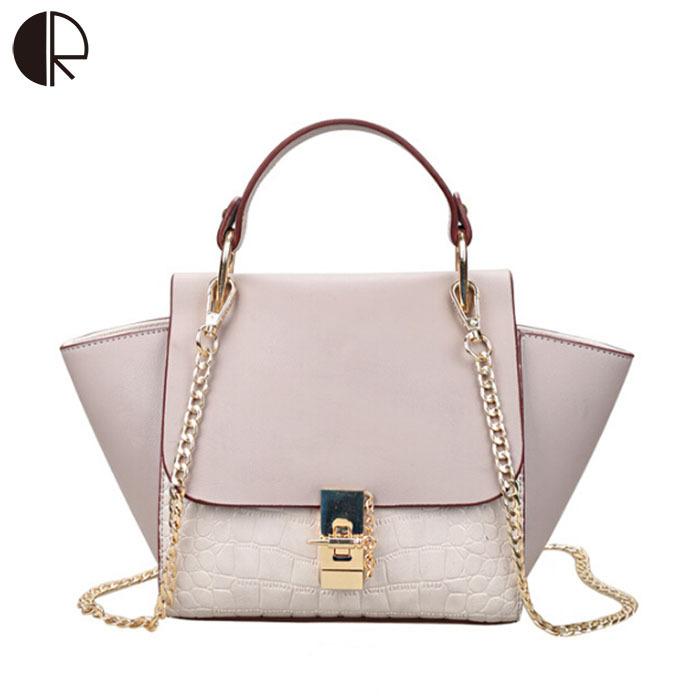 2015 New Patchwork Women Brand Design Inspire Shoulder Bag Trapeze Big Ears Smiley Swing Tricolor Lock Chains Handbag BH500(China (Mainland))