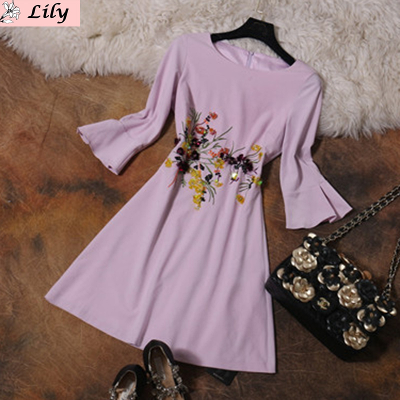 Cute Dress 2016 Summer Lavender Half Flare Sleeve Above Knee Fashion Brand Sequined Beading Embroidery Topshop New Dress(China (Mainland))