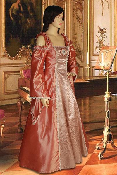 Renaissance or Medieval Style Dress Handmade Rose Orange Coral