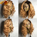 Soft Wavy Ombre Hair Lace Front Wigs With Baby Hairs T1/99J Two Tone Peruvian Virgin Hair Full Lace Human Hair Wigs For Women