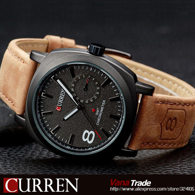 2015 brand CURREN M-8139 Casual Fashion Watches Men's Wristwatches Leather Strap Waterproof Quartz Sports Watch - Mia shop store
