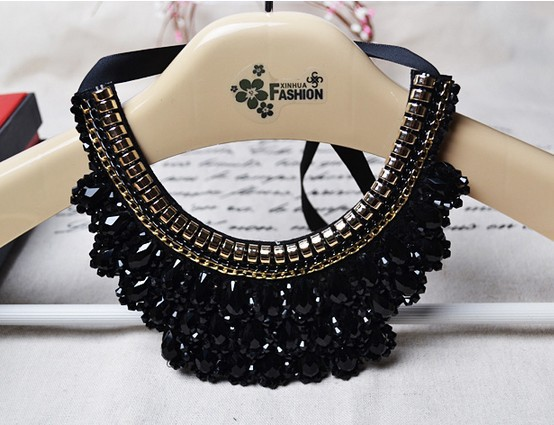 2015 new fashion statement jewelry Handmade False Collar Necklace Black Crystal Beads Women Charm Choker Accessories - Double H Fashion Boutique( DHFB store)