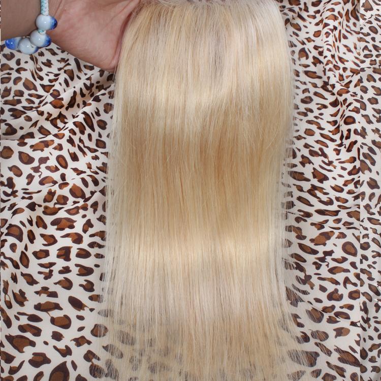 Peruvian Lace Closure Bleached Knots 4*4inch 613 Virgin Hair Straight Human Clousre - Rebela hair products Co.,Ltd store