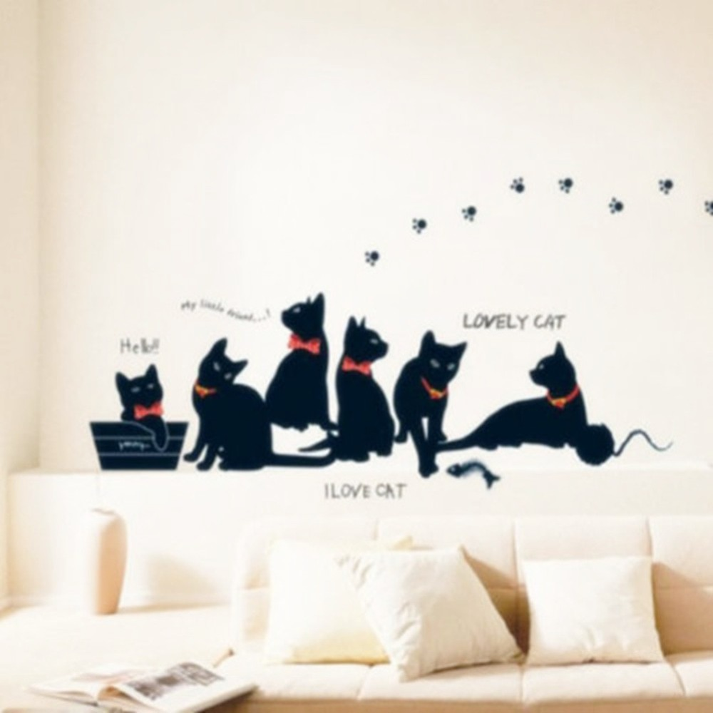 wall decal family art bedroom decor pc cute cats sticker family home room removable wallsticker wallpaper art mural decal decorchina