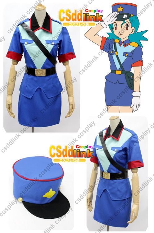Pokemon Officer Jenny cosplay costume female uniform with cap(China (Mainland))