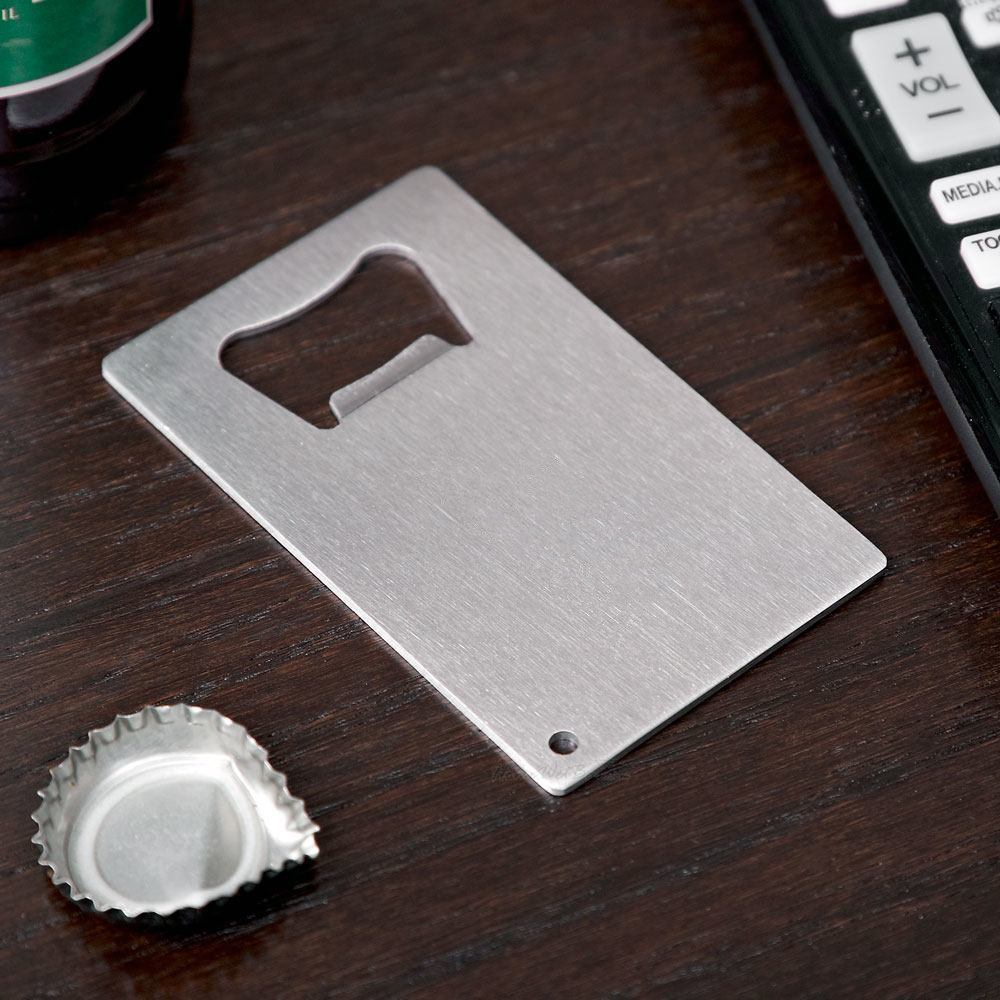 Metal business cards bottle opener olivero personalized credit card sized bottle opener custom reheart Images