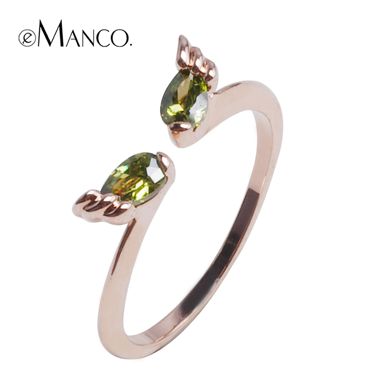 Heart Adjustable golden green women rings eManco zinc alloy 2015 brand new fashion jewelry ring cubic zirconia charm BR00076-3(China (Mainland))