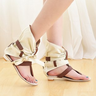 Factory Directly Price Hot selling Summer Casual Women's Flat Sandals Cloth Clip Toe Rome Style 34-43 Max Size - leyte's store