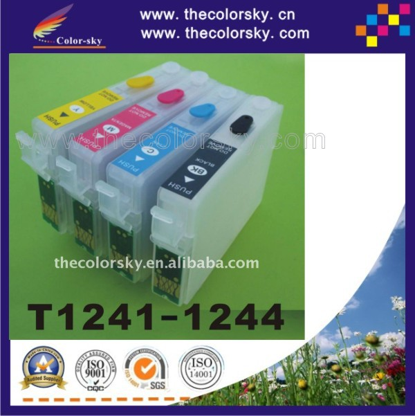 (RCE1241) refill ink cartridge for Epson T1241-1244 T124 T 124 Stylus NX125/NX420 Workforce 325/320/323 BK/C/M/Y (with ARC chip)