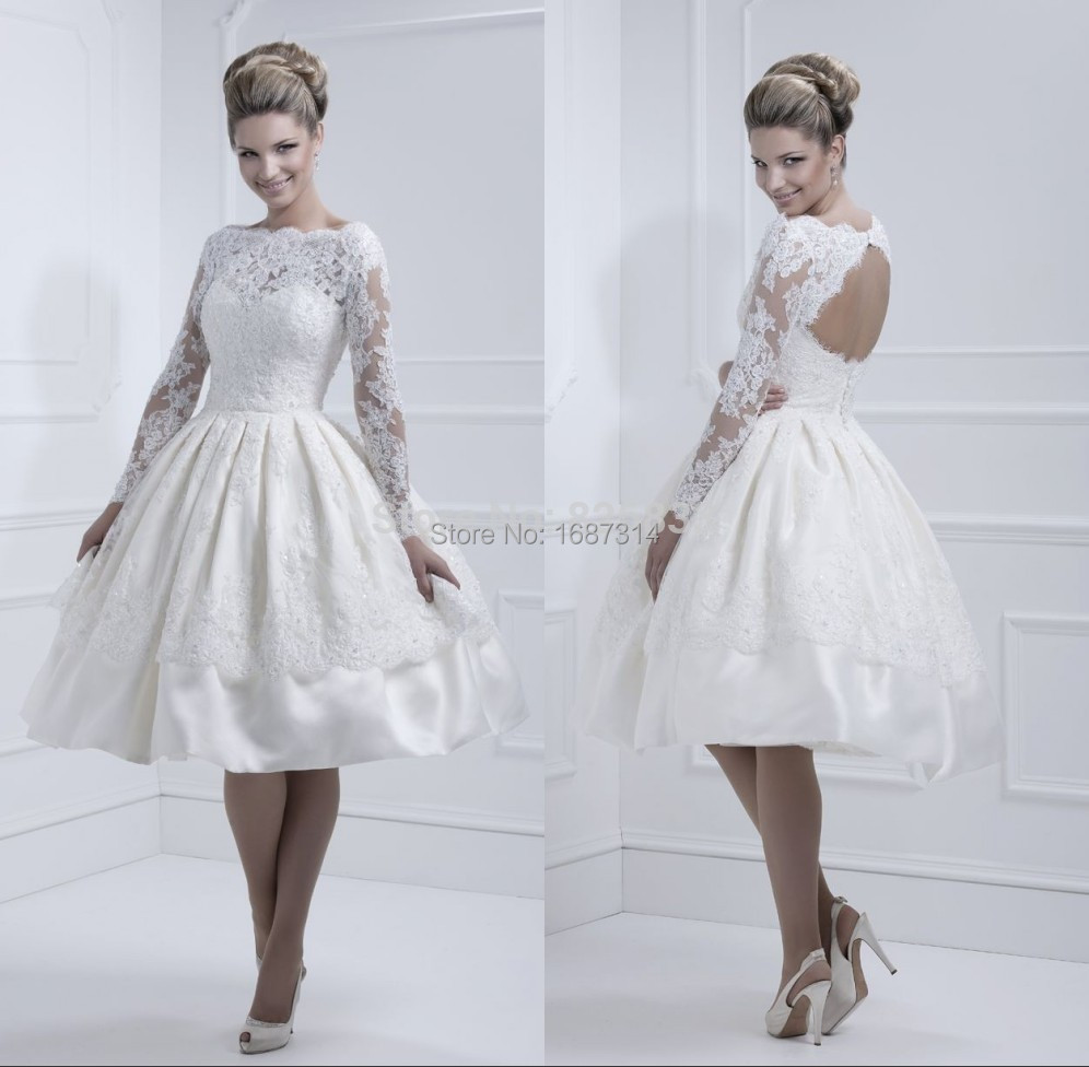 2015 elegant lace long sleeves backless ball gown wedding for Long sleeve lace tea length wedding dress