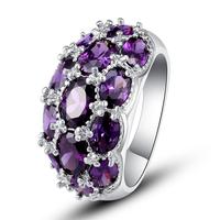 Atacado nova moda partido bonito jóias deslumbrantes Oval Cut roxo 925 anel de prata tamanho 7 8 9 10 presente para Unisex grátis frete