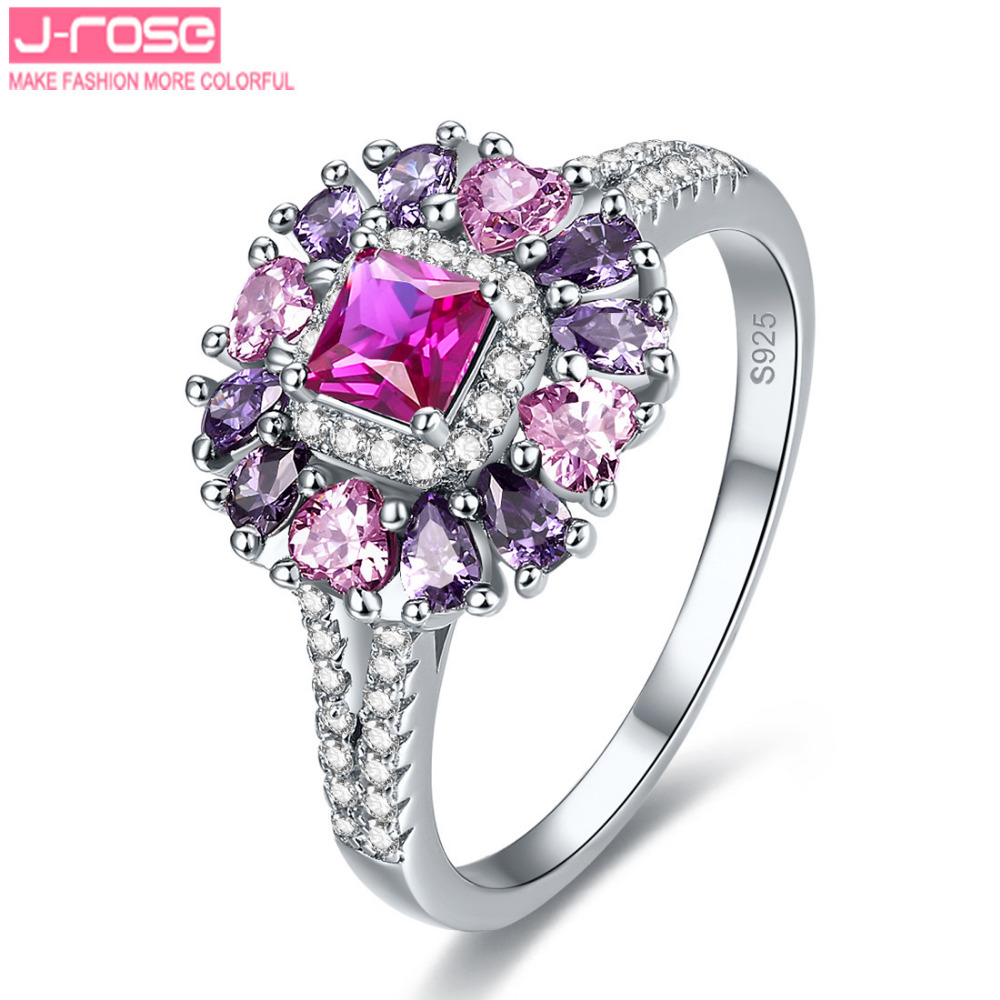 purple wedding bands price low cost wedding rings Jrose Women s Red Pink CZ Purple Anniversary Bridal Wedding Band Engagement Ring Sterling Silver