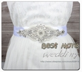 Fashion Rhinestones Applique Ribbon Wedding Sash Evening Dress Belt Handmade with 400cm Length RIbbon