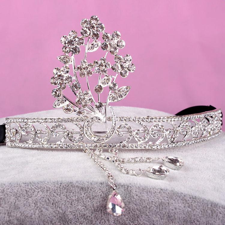 Bridal wedding jewelry crystal gatsby crown tiara queen high cute wedding accessories()