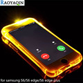 For Coque Samsung Galaxy S6 S6 Edge Soft TPU LED Flash Light Up Case Remind Incoming