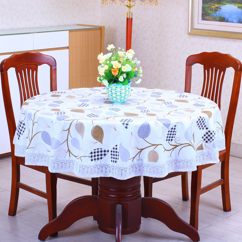 2016New PVC Plastic Plus Velvet Thickened Round Tablecloths Waterproof Oilproof No Clean Tablecover Pastoral Style Lace(China (Mainland))