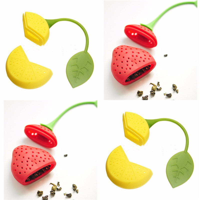 BornIsKing Tea Leaf Strainer Lovely Silicone Lemon Strawberry Tea Bag Ball Stick Loose Herbal Spice Infuser Filter Tea Tool(China (Mainland))