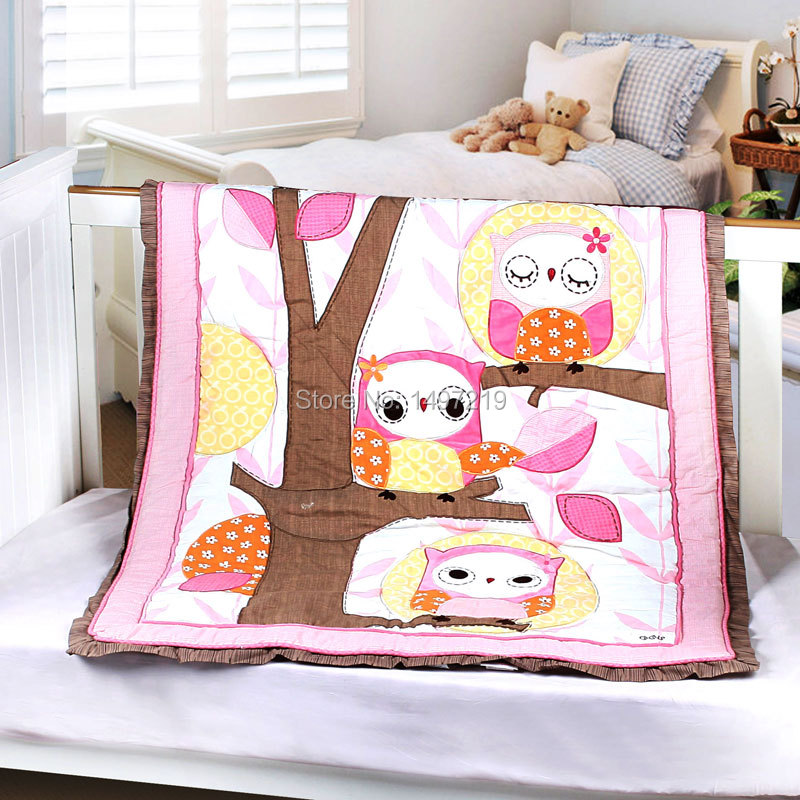 embroidery owl pattern crib quilt 90*114cm(China (Mainland))