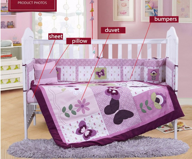 Фотография Discount! 4PCS Purple Baby Bedding Set Boys Girl Crib Bedding Sets Cotton Infants,include(bumper+duvet+sheet+pillow)
