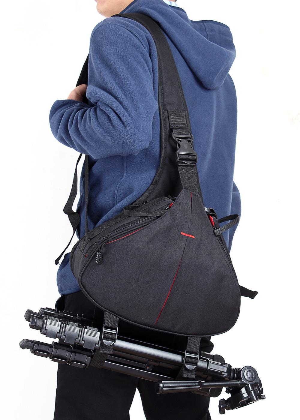 Black Diagonal DSLR SLR Digital Camera Bag Carry Case Shoulder Messenger For Nikon Sony Canon Free Shipping(China (Mainland))