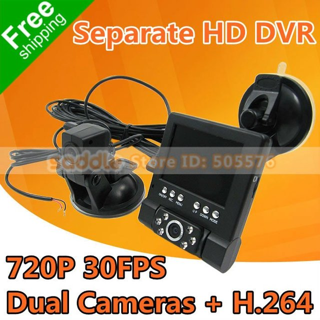 "L1000 Car DVR Camera Video Recorder with Separated Camera + HD 720P + H.264 + MOV + 2.8"" LCD + Rear View Camera + Free Shipping!"
