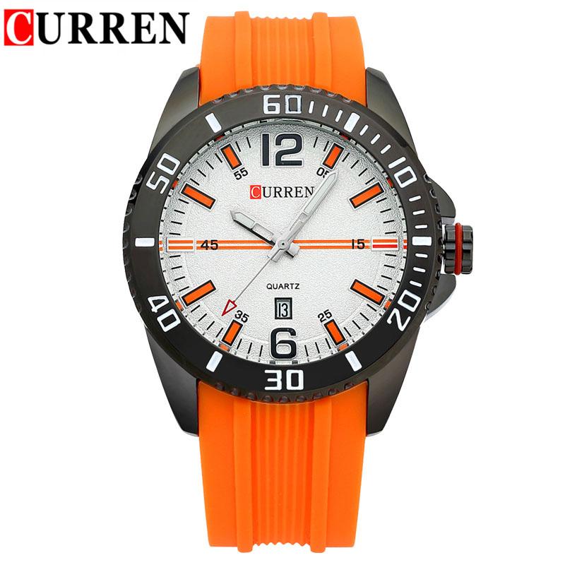Fashion Casual Mens Sports Watch Curren Famous Brand Wristwatch Silicone Straps Man Quartz-Watch Calendar Date Male Clocks Hours(China (Mainland))
