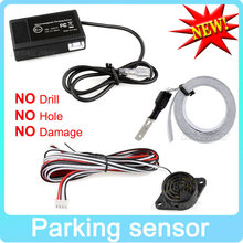 Hot Car Electromagnetic Parking Sensor No Holes\Easy install Parking Radar Bumper Guard Backup Reversing Parking System(China (Mainland))