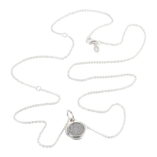 Серебро 925 ювелирных изделий пан подпись круглый подвеска проложить CZ ожерелье длина цепи 68 см для женщин DIY мода ювелирных изделий