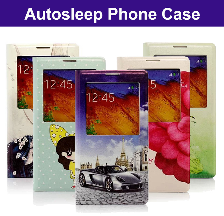 Flip Case cover shell For Samsung Galaxy Note3 N9000 Note2 N7100 Leather Sleep Mode Cover Thin Back Phone Cases(China (Mainland))
