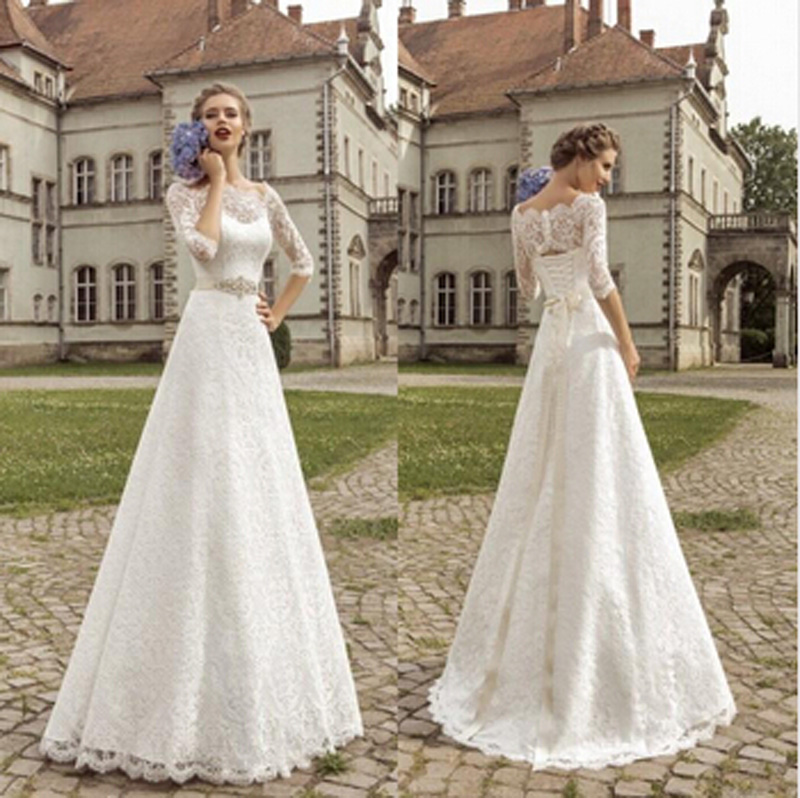 Wedding Dresses 3 4 Sleeves Lace : White lace wedding dresses bateau sleeves a line gown
