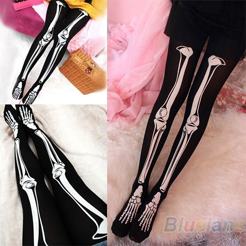 Womens Sexy Black Skeleton Tattoo Pantyhose Stockings Tights Hot 05V2