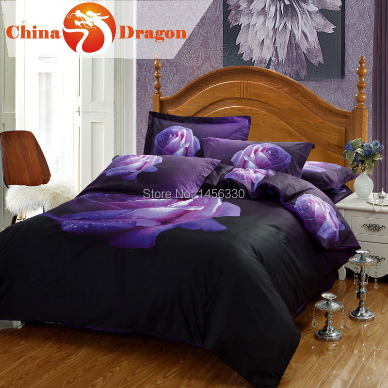 Housse de couette 3d floral bedding set romantic purple for Housse de couette king size