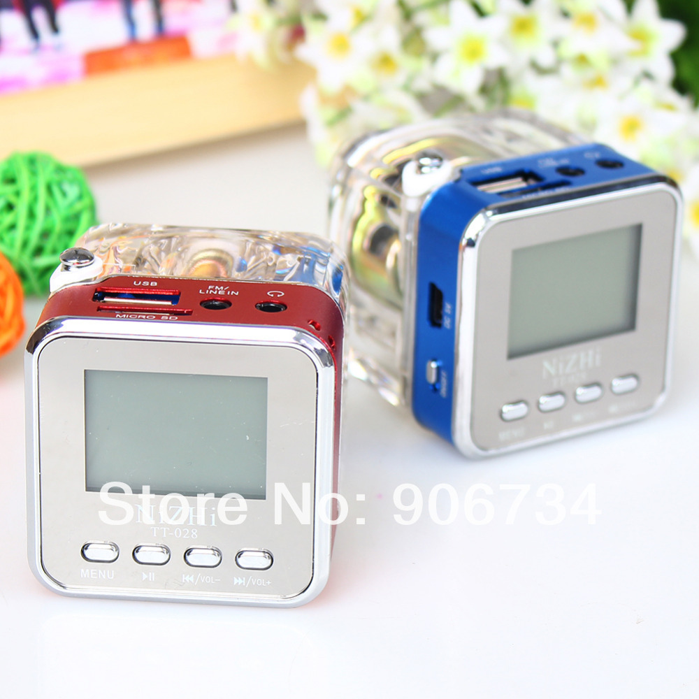 Mini LCD Portable Stereo SD/TF USB Disk FM Radio Speaker Music MP3 Player Two color red MP3 blue MP3(China (Mainland))